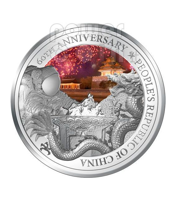 PEOPLE REPUBLIC OF CHINA 60th Anniversary Moneda Plata 2$ Niue 2009