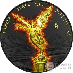 BURNING LIBERTAD Black Ruthenium 1 Oz Silver Coin Mexico 2015