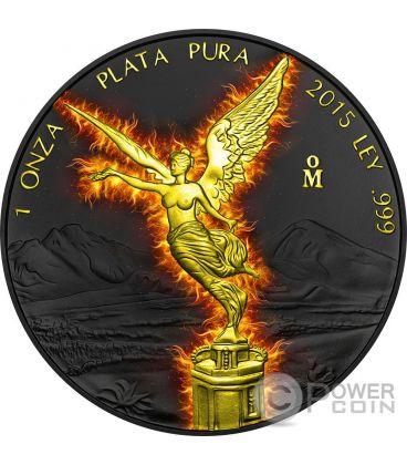 BURNING LIBERTAD Black Ruthenium 1 Oz Silver Coin Mexico 2015