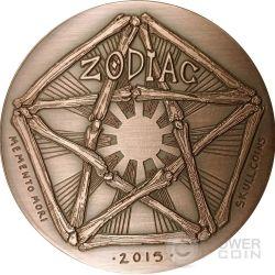 CANCER Memento Mori Zodiac Skull Horoscope Copper Coin 2015
