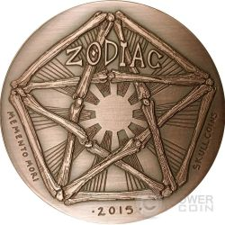 CANCER Memento Mori Zodiac Skull Horoscope Copper Moneda 2015