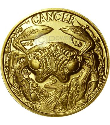 CANCER Memento Mori Zodiac Skull Horoscope Gold Coin 2015