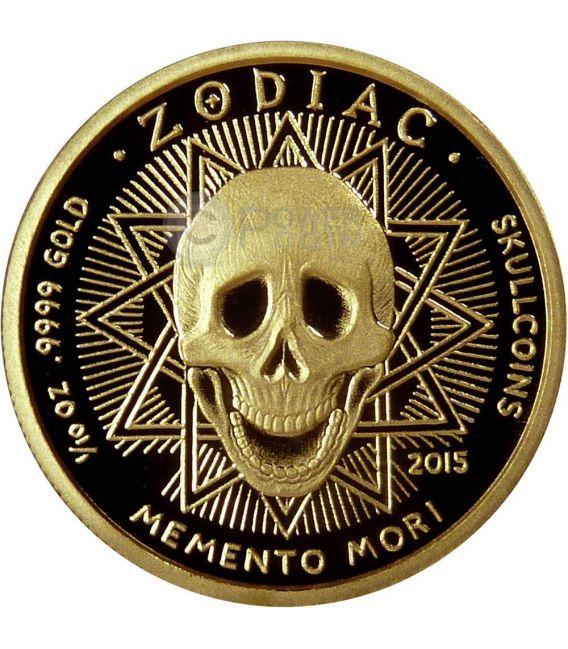 CANCER Memento Mori Zodiac Skull Horoscope Moneda Oro 2015