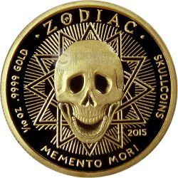 CANCER Memento Mori Zodiac Skull Horoscope Gold Coin 2015