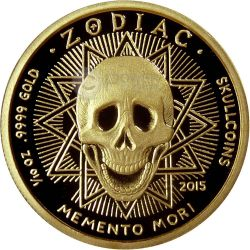 CANCER Memento Mori Zodiac Skull Horoscope Moneda Oro 2015