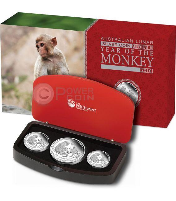 SCIMMIA Monkey Lunar Serie Set 3 Monete Argento Proof Australia 2016