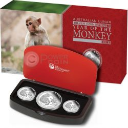 MONKEY Lunar Year Series Three 3 Coins Set Silver Proof Australia 2016