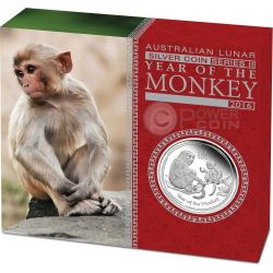 MONKEY Lunar Year Series 1 Oz Silver Proof Coin 1$ Australia 2016