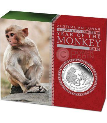 MONKEY Lunar Year Series 1 Oz Silver Proof Coin 1$ Australia 2016