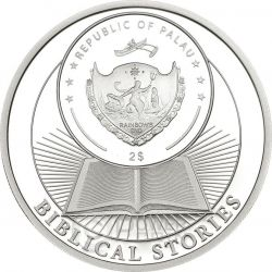 JONAH AND THE WHALE Biblical Stories Серебро Монета 2$ Палау 2015