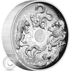 CHINESE ANCIENT MYTHICAL CREATURES Yin Yang High Relief 1 Oz Silver Coin 1$ Tuvalu 2016