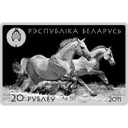 AKHAL TEKE Cavalli Horses Moneta Argento Bielorussia 2011
