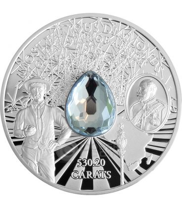 GREAT STAR OF AFRICA Stella Diamante Cullinan Most Famous Diamonds Moneta Argento 2 Oz 10$ Cook Islands 2015