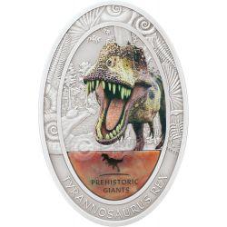 TYRANNOSAURUS REX Dinosaur Tooth Coprolite Prehistoric Giants 2 Oz Moneda Plata 1500 Francs Congo 2014