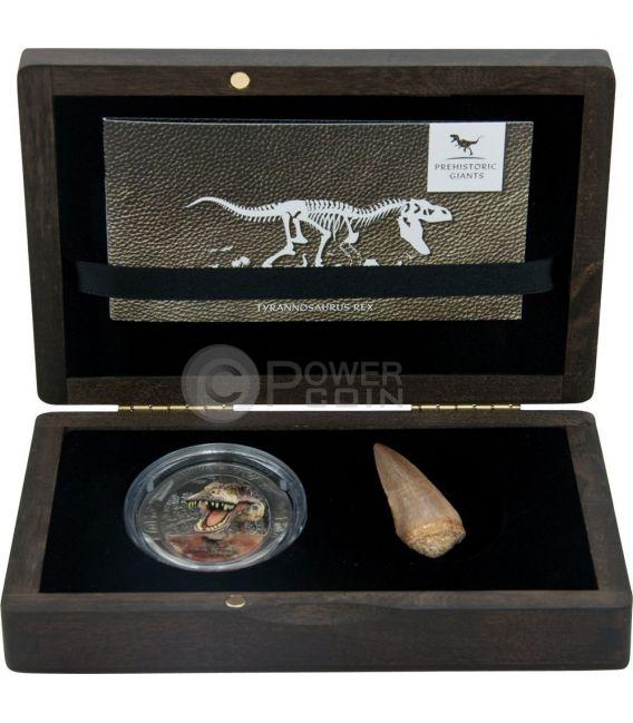 TYRANNOSAURUS REX Dinosaur Tooth Coprolite Prehistoric Giants 2 Oz Silver Coin 1500 Francs Congo 2014