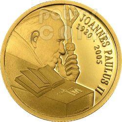 GIOVANNI PAOLO II Papa In Memoria Moneta Oro 10$ Cook Islands 2005