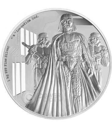 DARTH VADER Star Wars A New Hope 1 Kg Kilo Silver Proof Coin 100$ Niue 2016