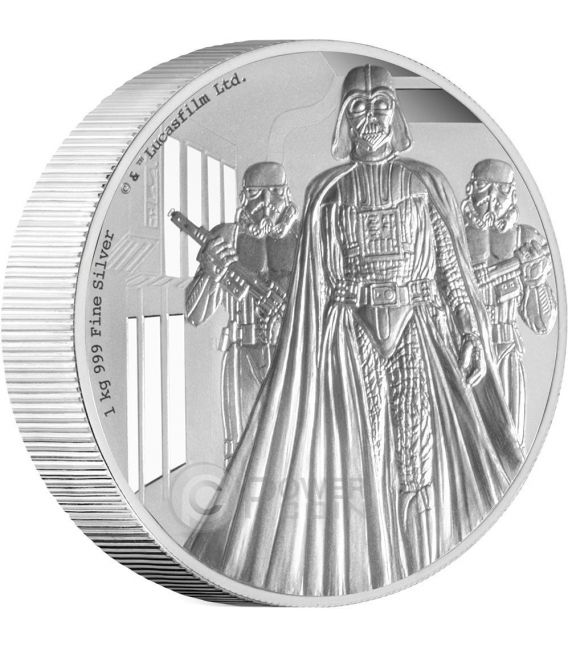 DARTH VADER Star Wars A New Hope 1 Kg Kilo Plata Proof Moneda 100$ Niue 2016