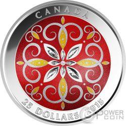 CHRISTMAS ORNAMENT Glass Silver Coin 25$ Canada 2015