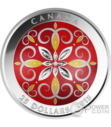 CHRISTMAS ORNAMENT Glass Natale Moneta Argento 25$ Canada 2015
