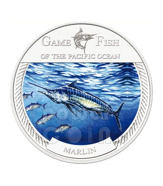MARLIN GAME FISH Pacific Ocean Moneda Plata 2$ Fiji 2009