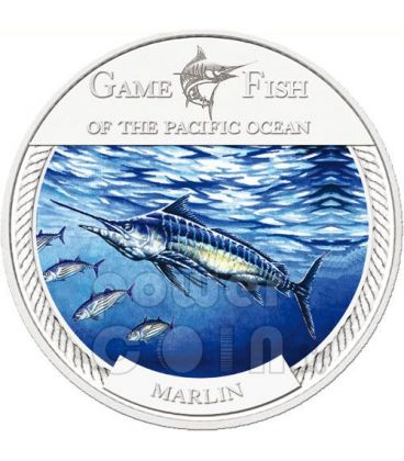 MARLIN GAME FISH Oceano Pacifico Moneta Argento 2$ Fiji 2009