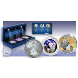 MAJESTIC SILVER TREASURES Walking Liberty Elephant Panda Set 1 oz Moneda Plata USA Somalia China 2015