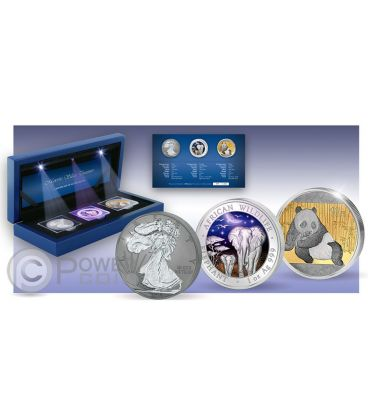 MAJESTIC SILVER TREASURES Walking Liberty Elephant Panda Set 1 oz Moneta Argento USA Somalia Cina 2015