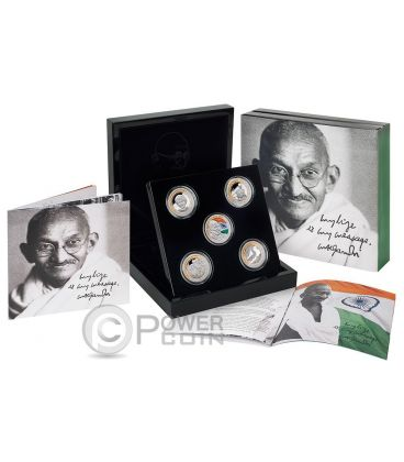 GANDHI Collection Five Set 1 oz Silver Proof Coin Niue 2015