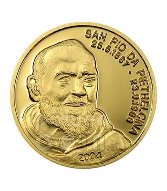 PADRE PIO Of Pietrelcina Gold Coin 5$ Mariana Islands 2004