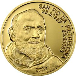 PADRE PIO Of Pietrelcina Oro Moneda 5$ Mariana Islands 2004