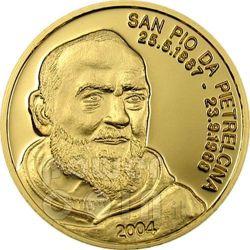 PADRE PIO San Pio Da Pietrelcina Moneta Oro 5$ Mariana Islands 2004