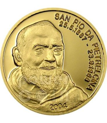 PADRE PIO San Pio Da Pietrelcina Moneta Oro Puro 999 5$ Mariana Islands 2004