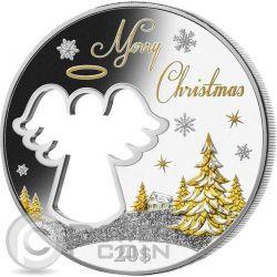CUT OUT ANGEL Christmas Angelo Natale 2 oz Moneta Argento 20$ Kiribati 2015