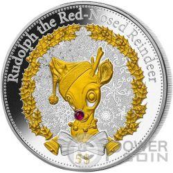 RUDOLPH Red Nosed Reindeer Christmas Серебро Proof Монета 5$ Кирибати 2015