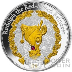 RUDOLPH Red Nosed Reindeer Renna Natale Moneta Argento 5$ Kiribati 2015