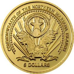 PADRE PIO Of Pietrelcina Золото Монета 5$ Марианские острова 2004