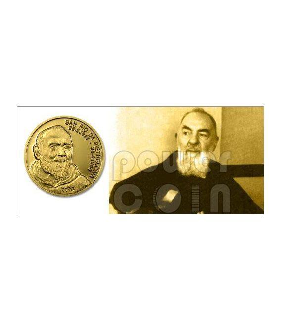 PADRE PIO Of Pietrelcina Gold Münze 5$ Mariana Islands 2004