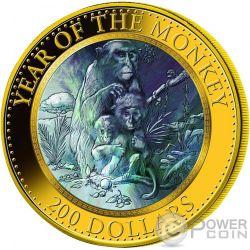 SCIMMIA MADREPERLA Monkey Lunar Serie Moneta Oro 5 Oz 200$ Cook Islands 2016