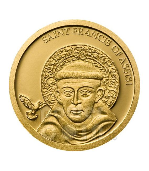 SAINT FRANCIS OF ASSISI Gold Münze 1$ Palau 2008