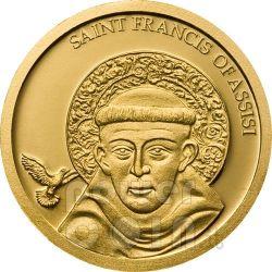 SAINT FRANCIS OF ASSISI Gold 999 Coin 1$ Palau 2008