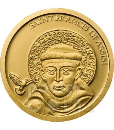SAN FRANCESCO DA ASSISI Moneta Oro Puro 999 1$ Palau 2008