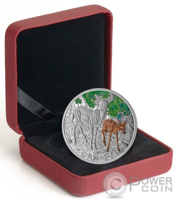 WHITE TAILED DEER Baby Animals Proof Moneda Plata 20$ Canada 2015