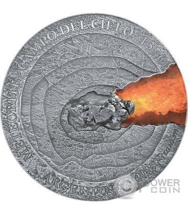 METEORITE CAMPO DEL CIELO 1576 Meteor Crater 1 Kg Kilo Moneta Argento 50$ Niue 2015