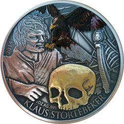KLAUS STORTEBEKER Pirata Del Nord Moneta Argento 5 Oz 5$ Niue 2014