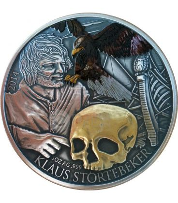 KLAUS STORTEBEKER Pirate Of The North Gilded 5 Oz Silver Coin 5$ Niue 2014