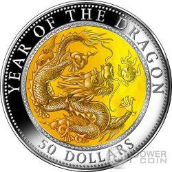 DRAGON Mother of Pearl Lunar Year Series 5 Oz Moneda Plata 50$ Fiji 2012