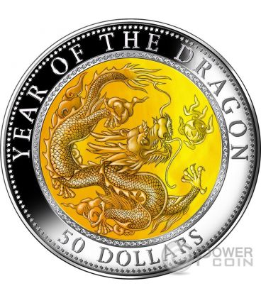 DRAGON Drago Mother of Pearl Lunar Year Series 5 Oz Moneta Argento 50$ Fiji 2012