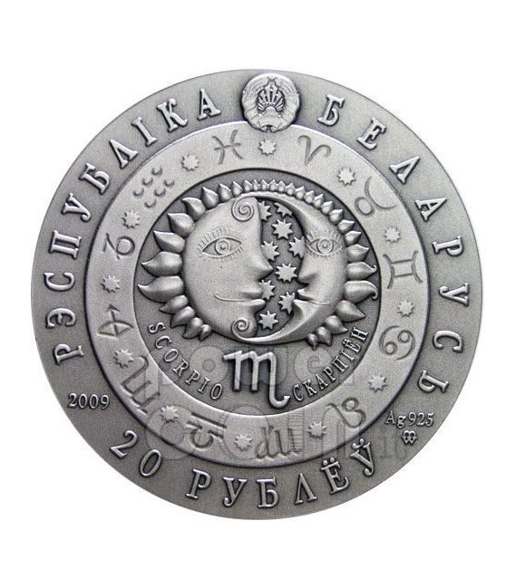 SCORPIONE Oroscopo Zodiaco Swarovski Moneta Argento Bielorussia 2009