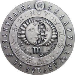 SCORPIO Horoscope Zodiac Swarovski Серебро Монета Белоруссия 2009